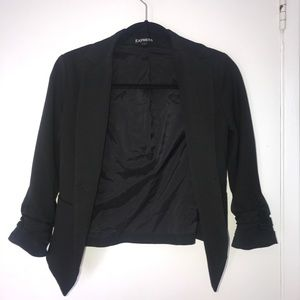 Express Ruched Sleeve Cropped Blazer